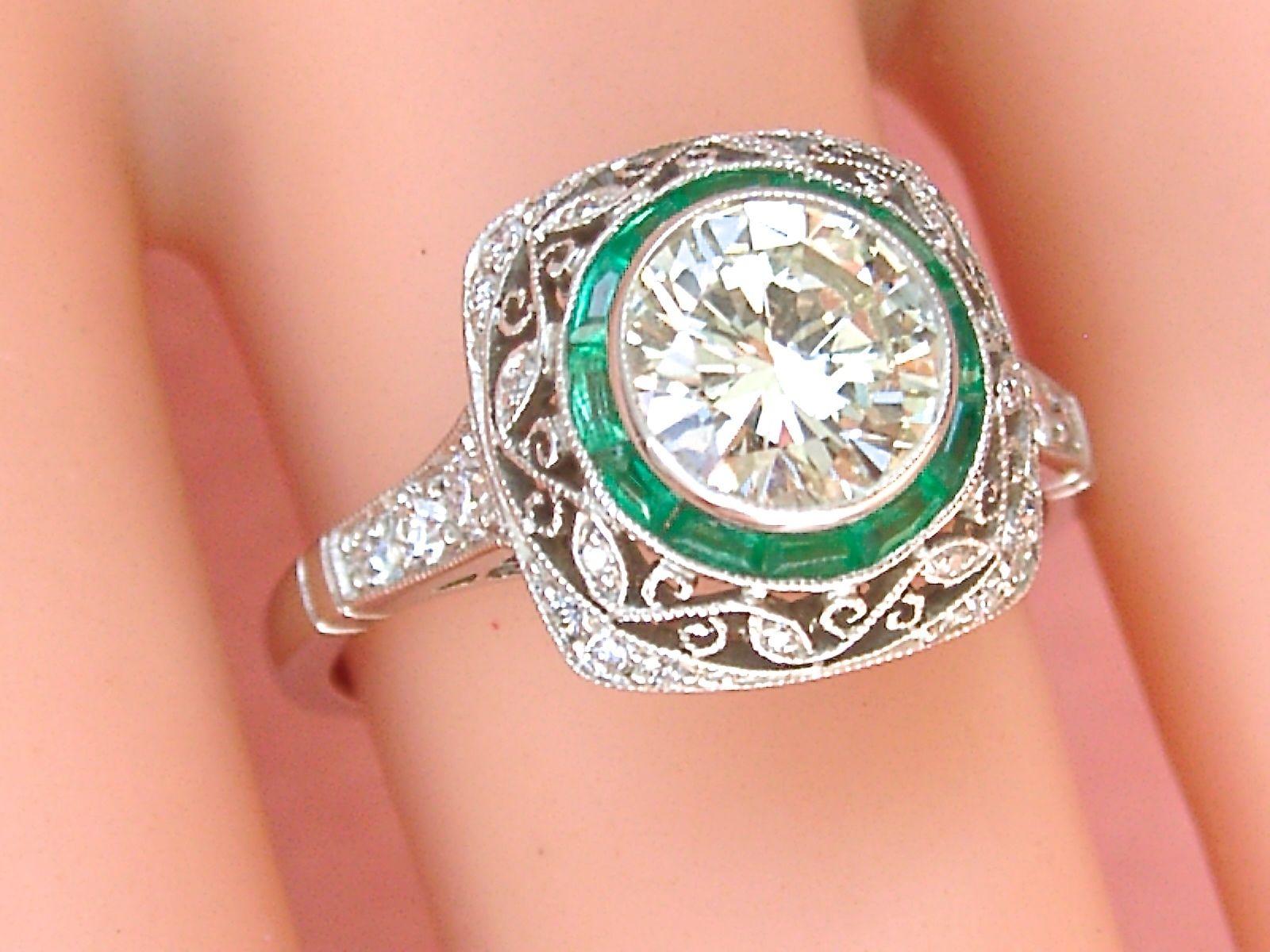 Estate Art Deco 1.24 Ct Brilliant Diamond Emerald Halo Ring