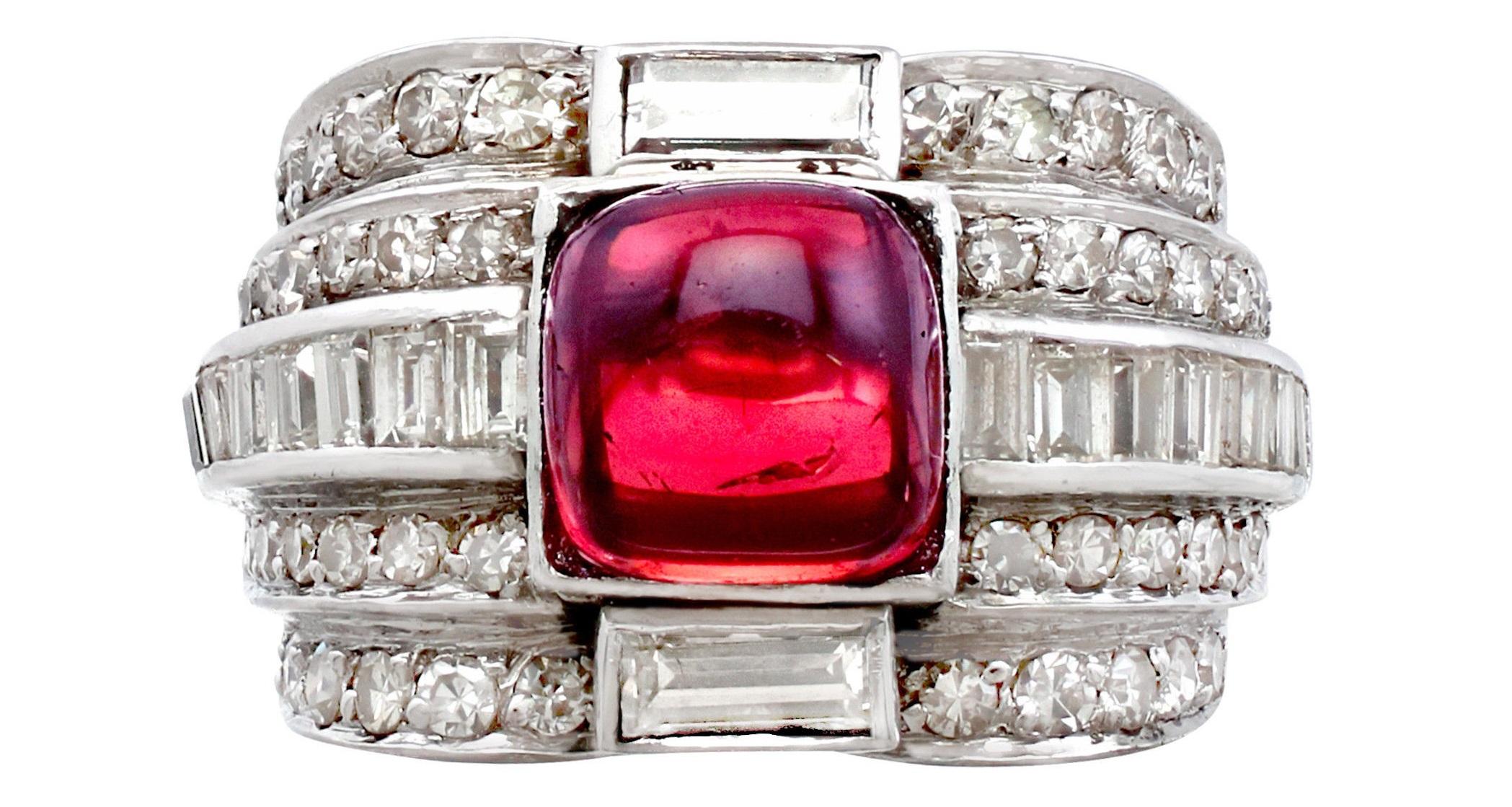 1930s Art Deco 2.21ct Tourmaline 1.82ct Diamond Platinum Dress Ring