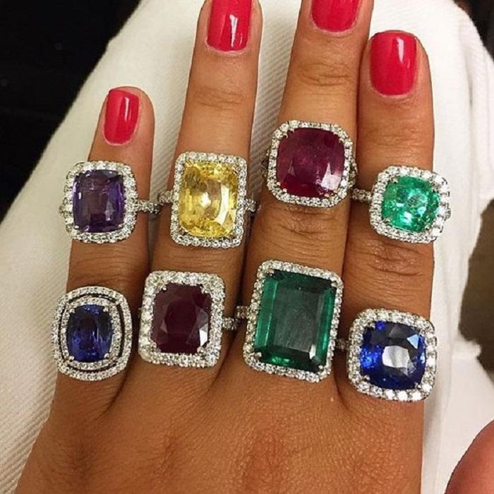 Gemstone and Diamond Rings