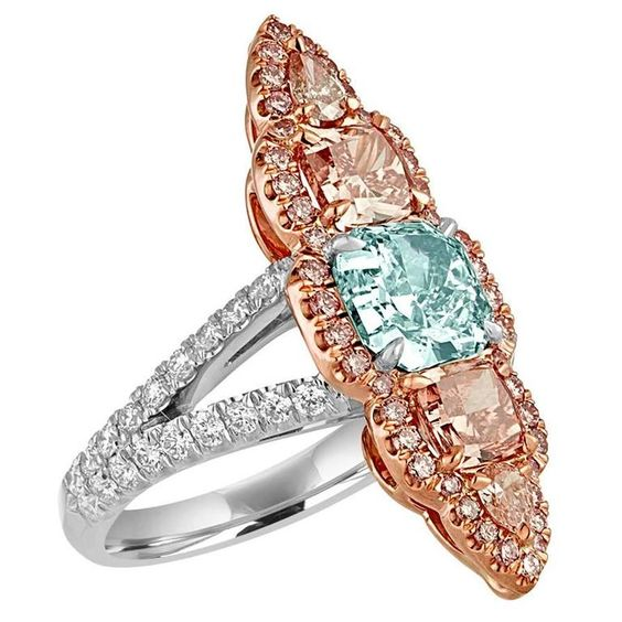 1.57 Carat GIA Certified Blue Green Cushion Cut and Pink and White Diamonds Ring