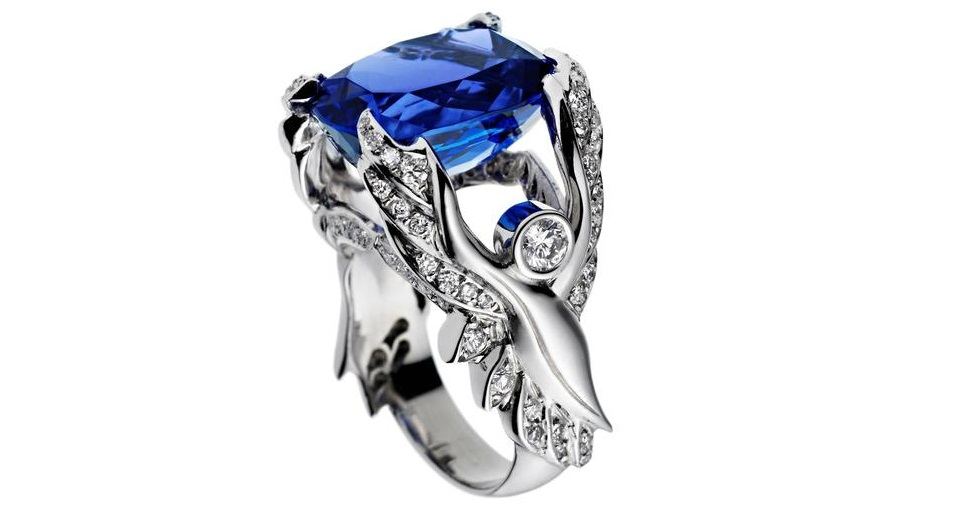Ana de Costa White Gold Blue Cushion Cut Tanzanite White Diamond Cocktail Ring