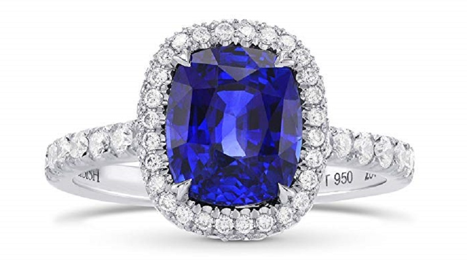 3.79Cts Sapphire Gemstone Side Diamonds Engagement Halo Ring Set in Platinum