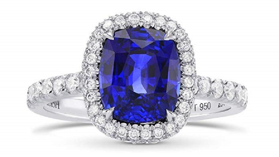 3.79Cts Sapphire Gemstone Side Diamonds Engagement Halo Ring Set in Platinum