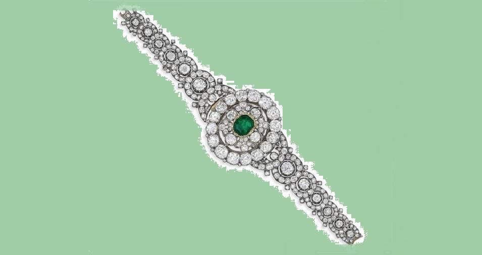 A LATE 19TH CENTURY DIAMOND AND EMERALD BRACELET/BROOCH