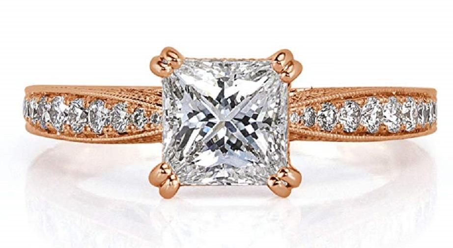 1.59ct Princess Cut Diamond Engagement Ring