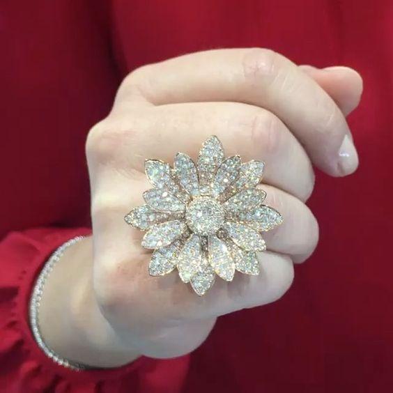 💎🌼💎 Diamond Flower Ring