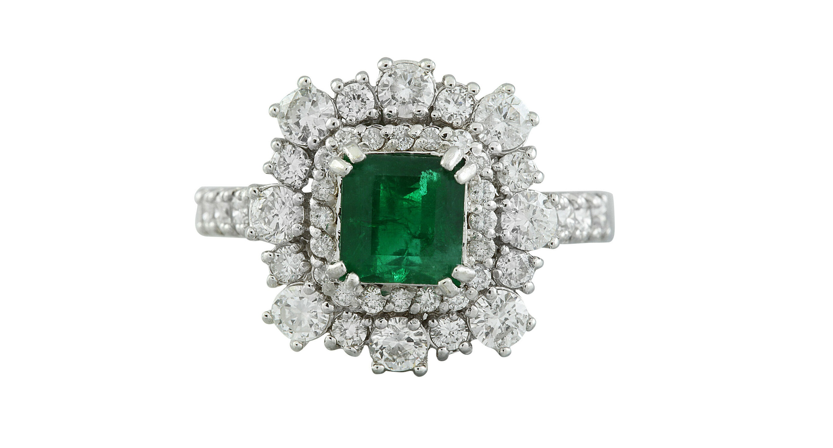 A Gorgeous 2.30 Carat Natural Emerald 18K Solid White Gold Luxury Diamond Ring