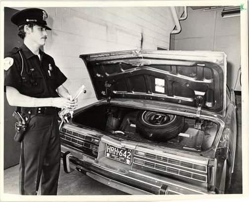 The trunk of Joey Jack's Mercury