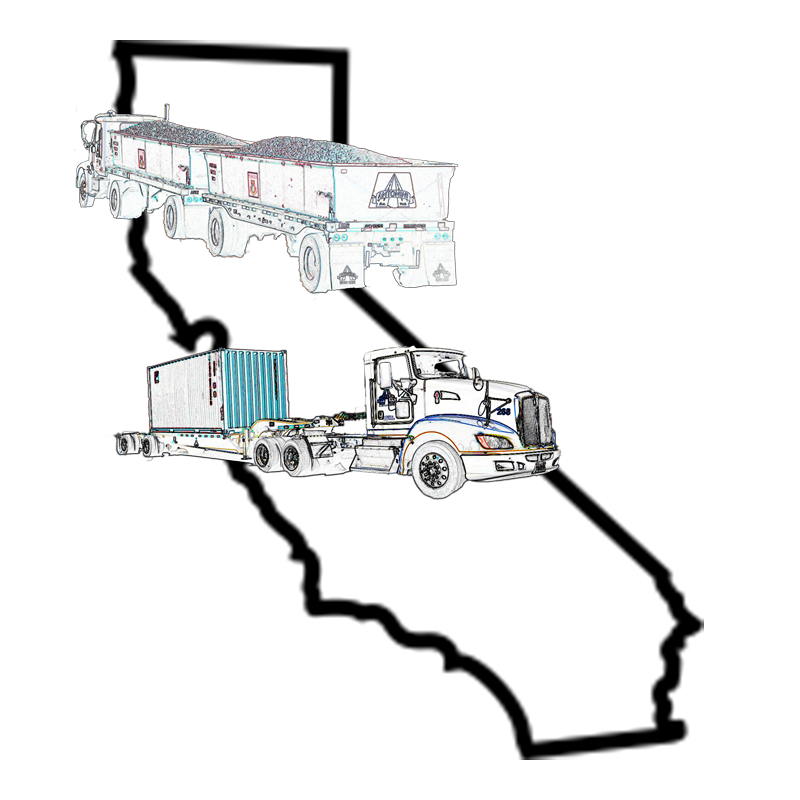 black and white map of california with semi-trucks