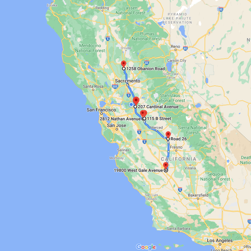map of northern california with Antonini Terminals noted