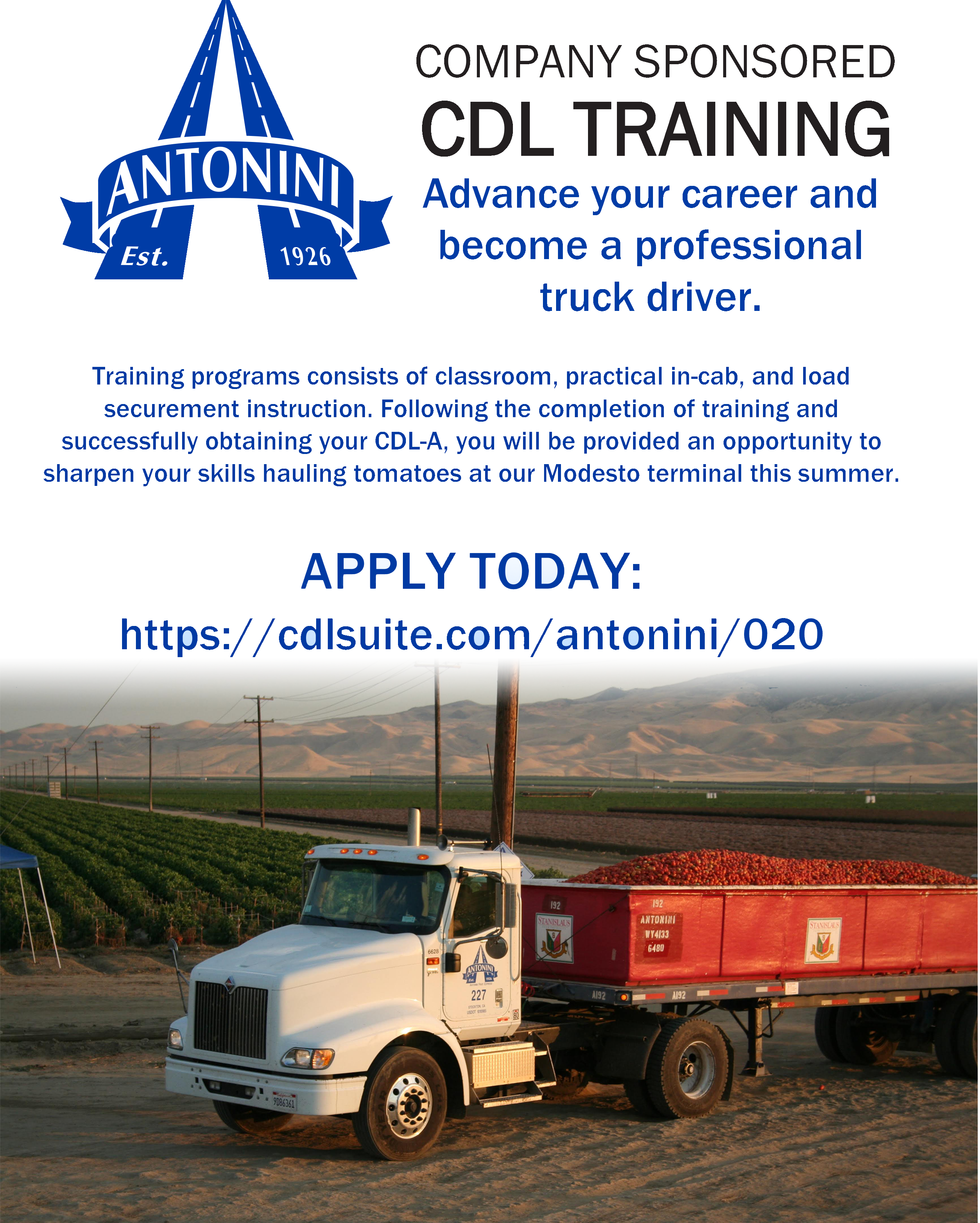 "Semi-truck with tomatoes in field with caption ""Company Sponsored CDL Training Apply Today"""