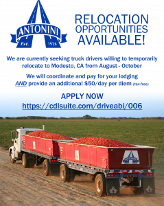 """Picture of semi-truck full of tomatoes in field with text """"Relocation Opportunities Available!"""" Apply Now!"""