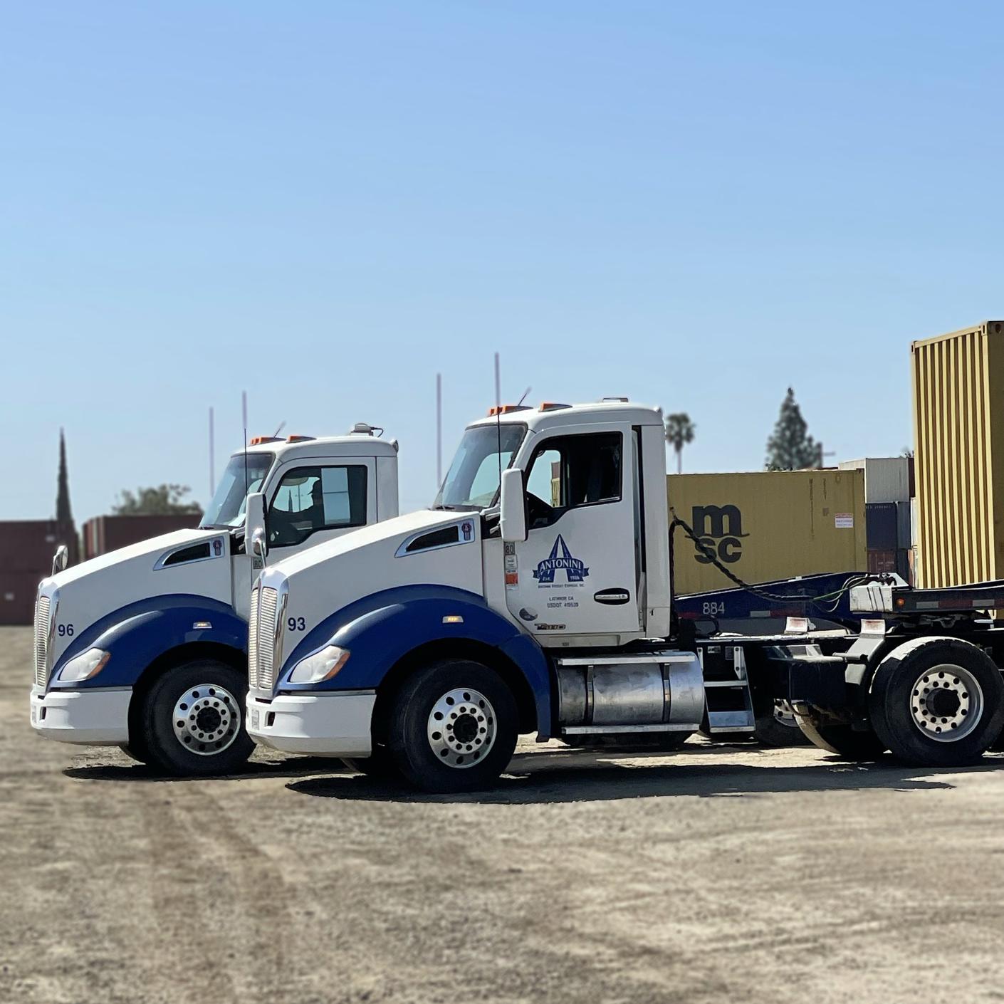 2 Antonini big rigs trucks in Stockton CA terminal