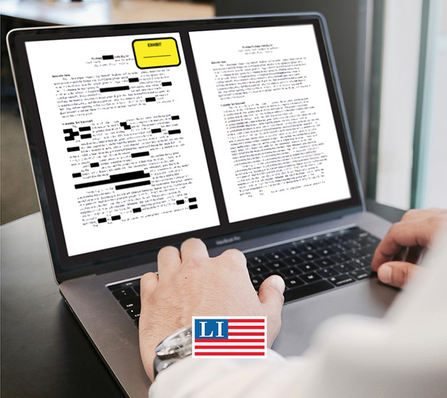 legal document being redacted and an exhibit sticker applied.