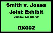 Custom exhibit sticker showing a joint exhibit in trial.