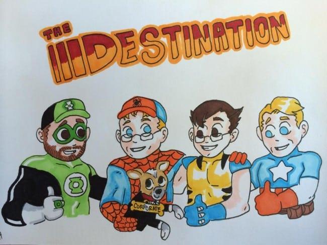The Destination crew as cartoons