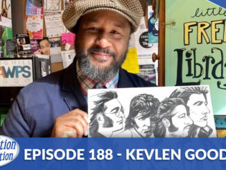 artist Kevlen Goodner with a Beetles drawing