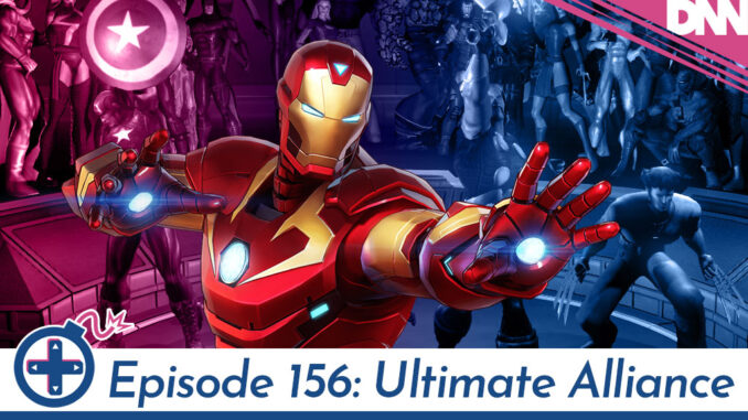 Iron Man in front of screenshot of Marvel Ultimate Alliance