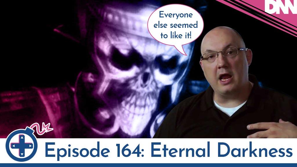 Denis Dyack in front of Eternal Darkness boss
