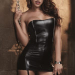 Dreamgirl Wet-Look Chemise with Paddle