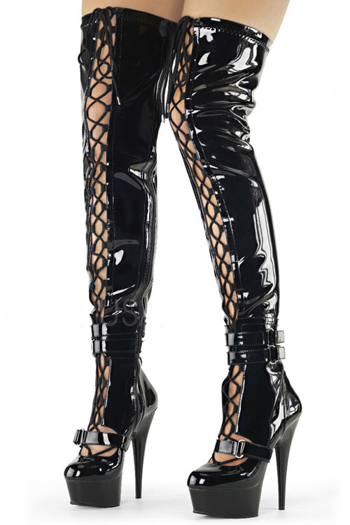 """Pleaser Ultra Shiny Thigh High 6"""" Boots"""