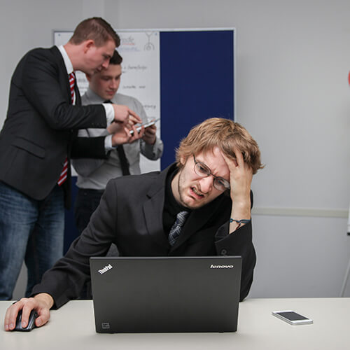 Man working hard at a computer