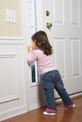 toddler by the door