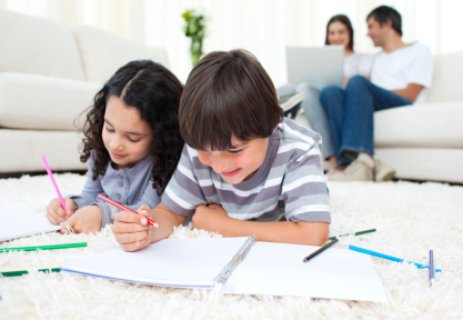 kids drawing at home