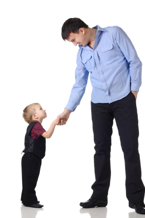 Man and Child Shaking Hands