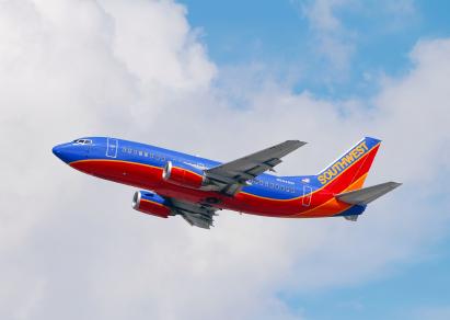 Southwest Airlpane In Flight