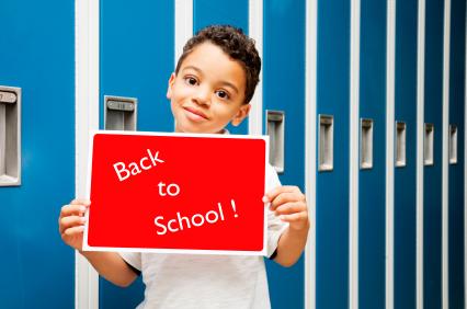 Middle School Boy On Near Lockers