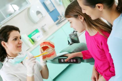 Kid visiting the dentist
