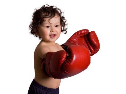 toddler with boxing gloves