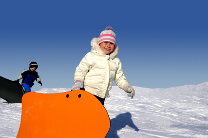 child carrying sled