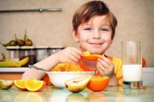 boy with healthy snacks