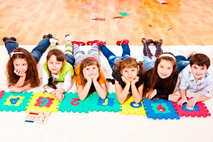 kids at circle time laying