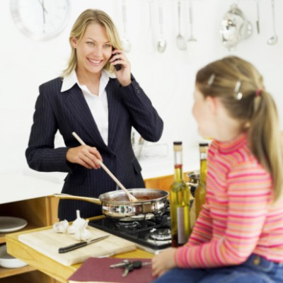 Busy mother communicating with child