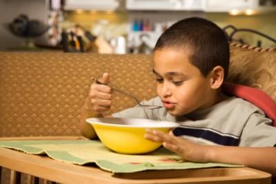 sick child eating