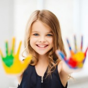 Girl with painted hands