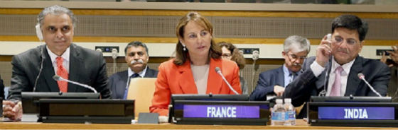 Power Minister, Piyush Goyal, right, and French Environment Minister Segolene Royal, center, at a meeting of the International Solar Alliance Friday, April 22, 2016, at the United Nations in New York, announced a programme with $1-trillion potential to help finance solar initiatives in developing countries. At left is Syed Akbaruddin, India's Premanent Representative to the UN.(Credit: Indian UN Mission)