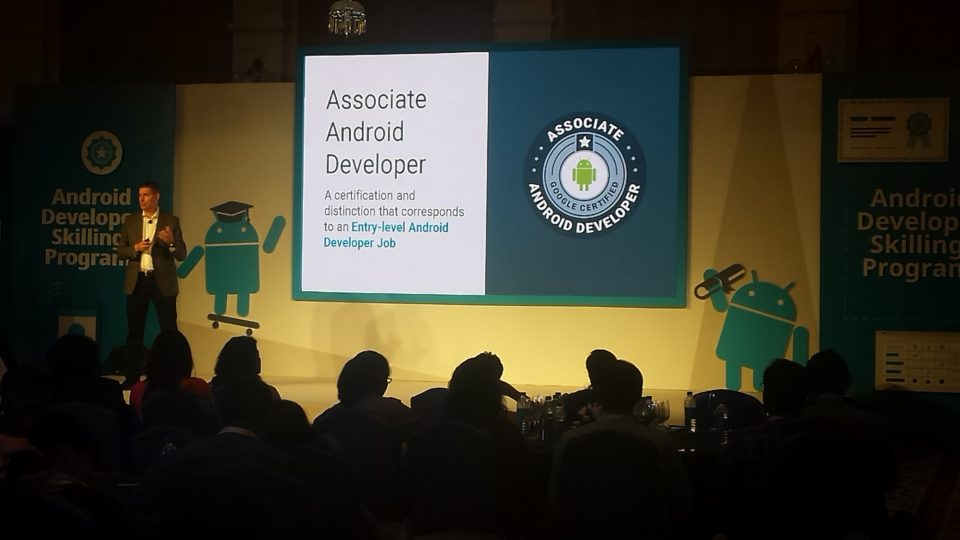 Peter Lubbers, Head of Google Developer Training explaining about Associate Android Developer Certification programme that would help developers get entry-level Android Developer jobs in the industry. (Photo: IANS)