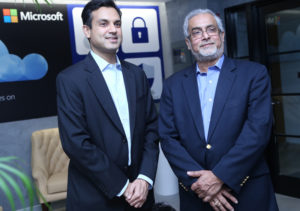 Bhaskar Pramanik, Chairman, Microsoft India (right) with Anant Maheshwari, President Microsoft India at the launch of the Cyber Security Engagement Centre in New Delhi.
