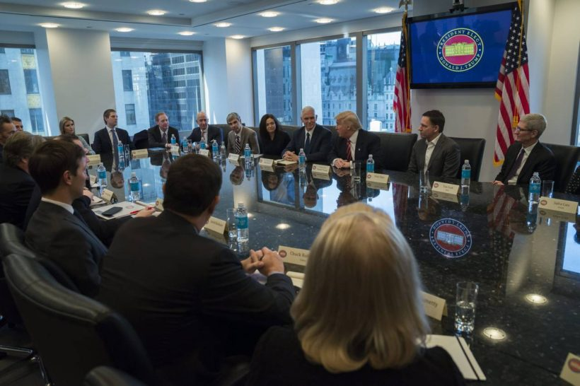 President-elect Donald Trump meets with leaders of major US technology companies on Wednesday, Dec. 14, 2016, in a bid to heal the rifts on both sides and promote investment, job creation and innovation. (Photo credit: Albin Lohr-Jones/Pool via IANS)