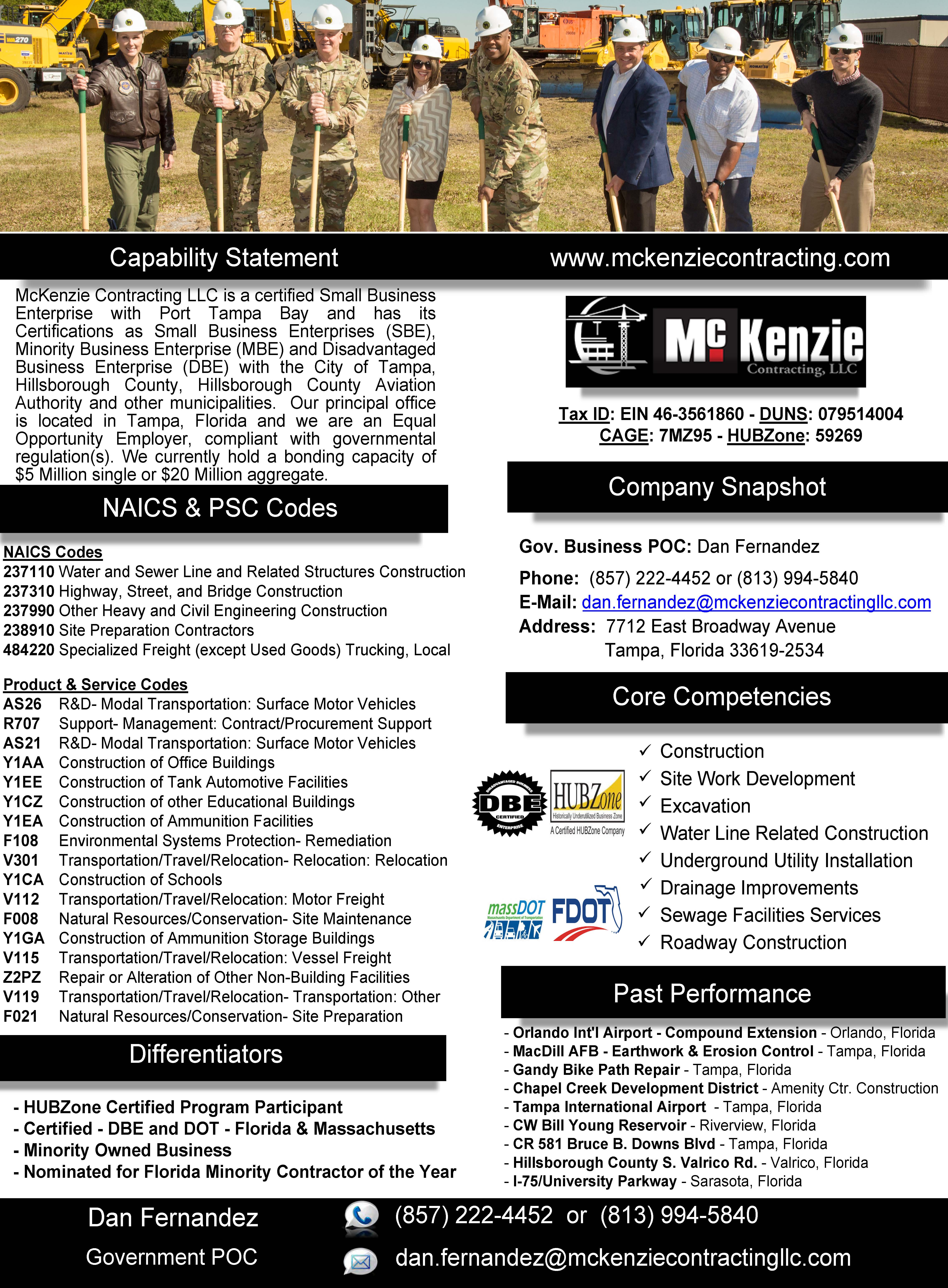McKenzie Contracting LLC - Capability Statement - Final - 8-23-18