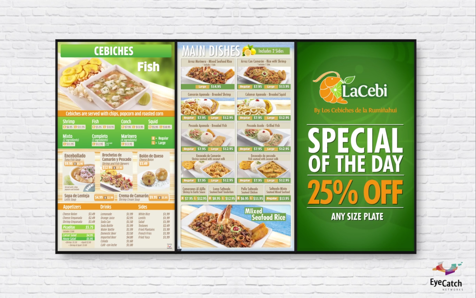 Digital Menu Boards designed for La Cebi Restaurant