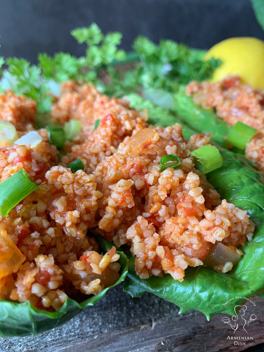 Armenian Eech Salad Served on Lettuce