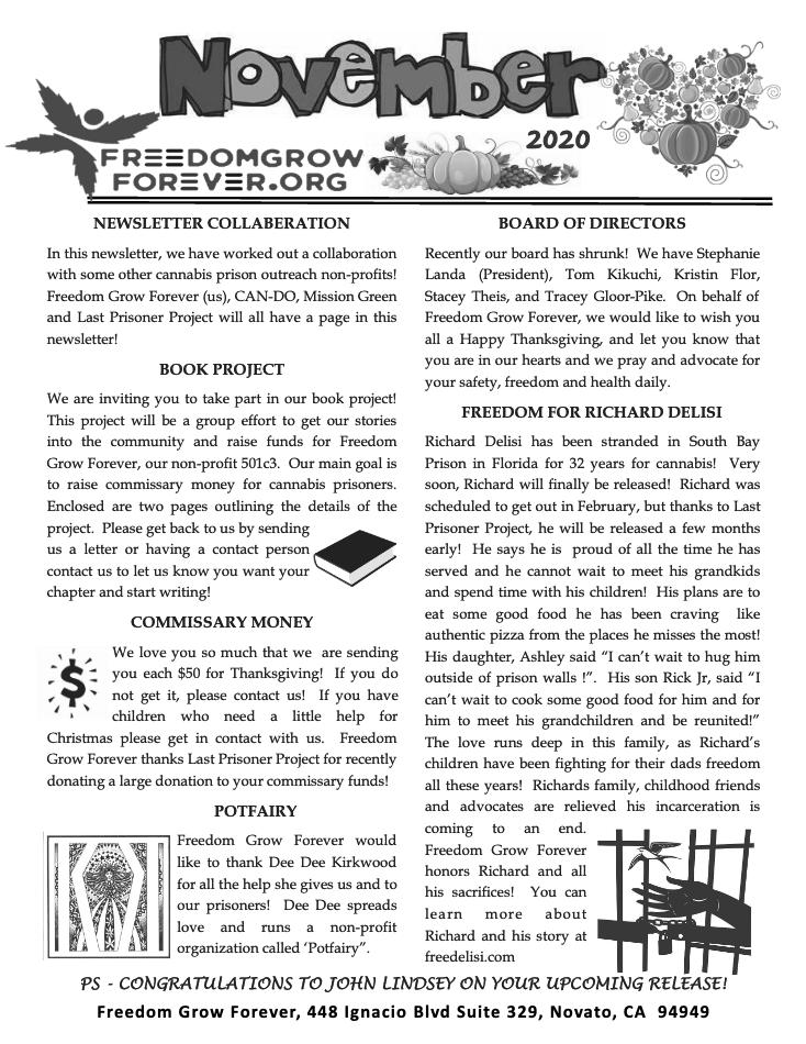 Freedom Grow Forever November 2020 newsletter