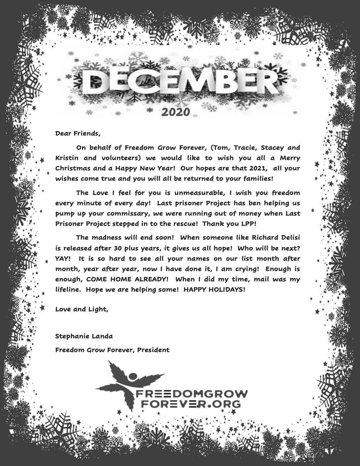 Freedom Grow Forever December 2020 newsletter