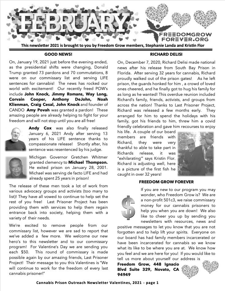 Freedom Grow Forever February 2021 newsletter