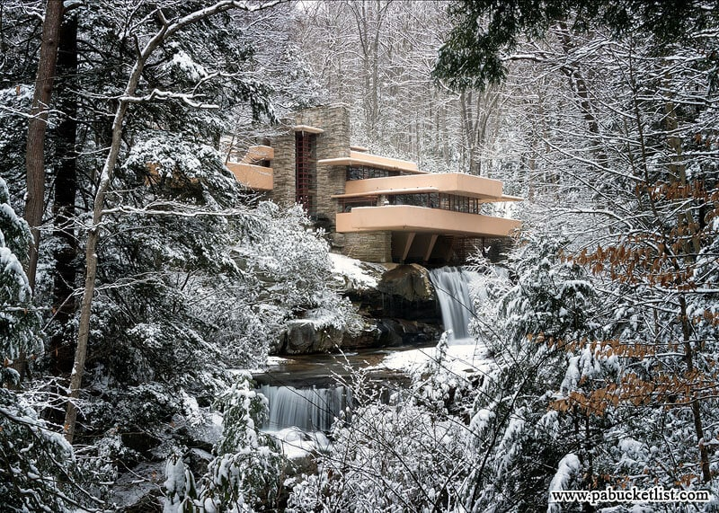 """Fallingwater as seen from the """"Classic View"""" on the Visitor Center map."""